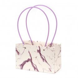 Опаковка за цветя хартиена чанта 22x13.5x10 см имитация мрамор бяло и лилаво