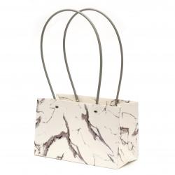 Опаковка за цветя хартиена чанта 22x13.5x10 см имитация мрамор бяло и сиво