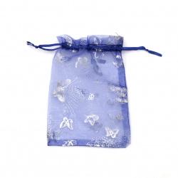 Торбичка за бижута 180x125 мм синя със сребро