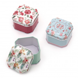 Metal box octagonal 66x47 mm ASSORTED