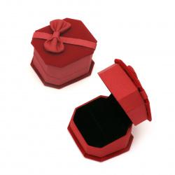 Кутийка за бижута 64x57x45 мм кадифена червена
