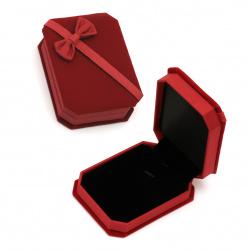 Кутийка за бижута 100x73x33 мм кадифена червена