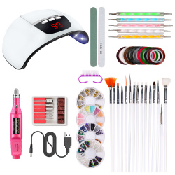 Комплект за маникюр с Ел. Пила UV/LED лампа 54W аксесоари за декорация и инструменти -39 части
