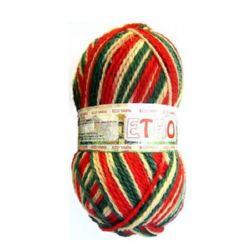 Прежда вълна Етно бяло, зелено, червено 100 грама -170 метра