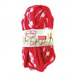 Прежда ЛАМБАДА червена с бяло 100 процента акрил 50 грама -27 метра