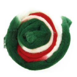 YARN WOOL felt tape melange white, green, red  for handmade clothes and accessories-50 grams ~ 1.8 meters