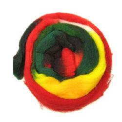 YARN WOOL felt tape melange yellow, green, red  for handmade clothes and accessories-50 grams ~ 1.8 meters