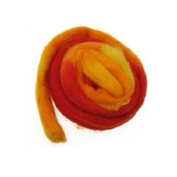 YARN WOOL felt tape melange yellow, orange, red -50 grams ~ 1.8 meters