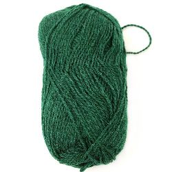 Прежда вълна Етно зелена тъмно 100 грама -170 метра