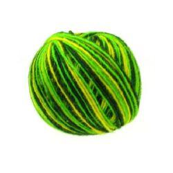 Прежда вълна цветна зелена жълта -50 грама