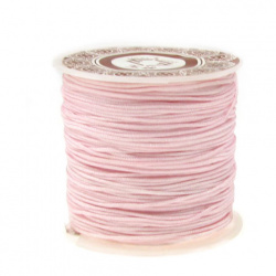 Polyester jewellery cord 1 mm pink ~ 35 meters