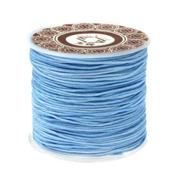 Polyester jewellery cord 1 mm blue light ~ 35 meters