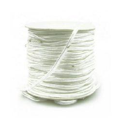 Текстилен шнур за Сутаж 3 мм цвят бял -1 метър
