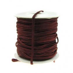 Текстилен шнур за Сутаж 3 мм цвят кафяв тъмен -1 метър