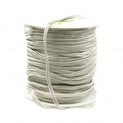 Текстилен шнур за Сутаж 3 мм цвят сив -1 метър