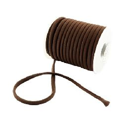 Silk cord 5x3 mm Habotai color brown -1 meter
