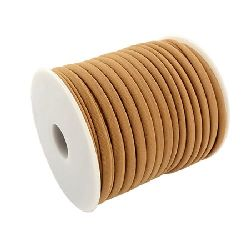Silk cord 5x3 mm Habotai color brown light -1 meter