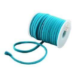 Silk cord 5x3 mm Habotai color blue-green -1 meter