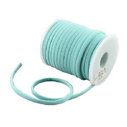 Silk cord 5x3 mm Habotai color blue light -1 meter