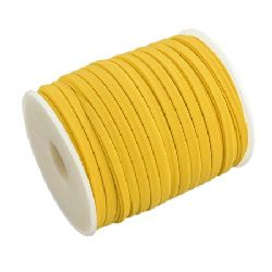 Silk cord 5x3 mm Habotai color yellow -1 meter