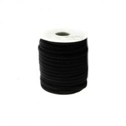 Шнур коприна 5x3 мм Habotai цвят черен -1 метър
