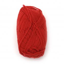 Прежда 100 % акрил цвят червен -25 грама