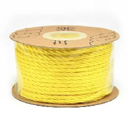 Polyester jewellery cord 2 mm yellow -5 meters