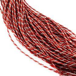 Шнур полиестер червен с ламе сребро 3.5 мм -5 метра