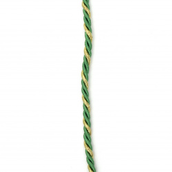 Cord polyester with lame 3 mm twisted  color green and gold -5 meters