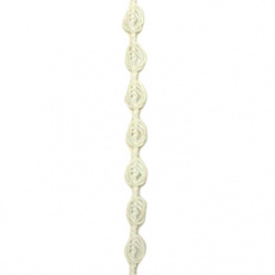 Ширит плетен розичка 7 мм бял -50 метра