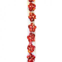 lenta de 8 mm paiete-floare roșie-1 metru