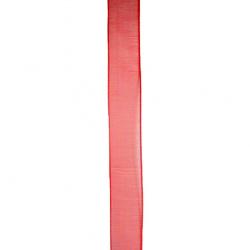 Panglica Organza 15 mm roșu ~ 45 metri