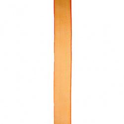 Лента органза 15 мм оранж -45 метра