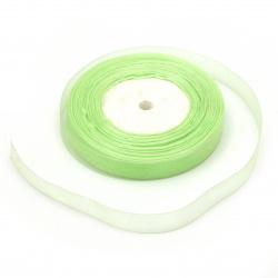 Panglica Organza 15 mm lumină verde ~ 45 metri