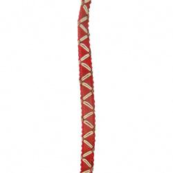 Ширит 8 мм червен с бял зиг заг -20 метра