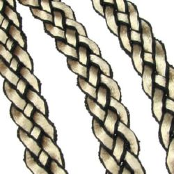 Banda capuccino împletit de poliamidă 12x2,5 mm și negru -2 metri