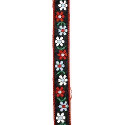 Ширит 19 мм син с бяло, червено и синьо цвете -1 метър