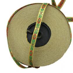 Ширит 8 мм злато,червено и зелено листо