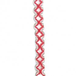 Ширит 15 мм червен с ламе -20 метра