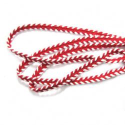 Ширит 7 мм памук червен с бяло -1 метър