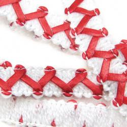Ширит 11 мм текстил и кожа зиг-заг бяло с червено -20 метра
