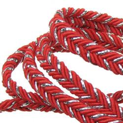 Ширит 5 мм текстил плитка червена с ламе -20 метра