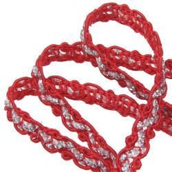 Ширит 7 мм текстил шнур червен с ламе -30 метра