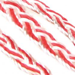 Ширит 10 мм текстил плитка бяла с червено -20 метра