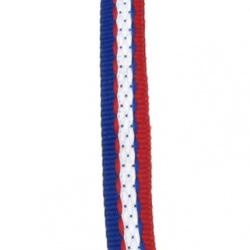 Ширит 10 мм червен син и бял