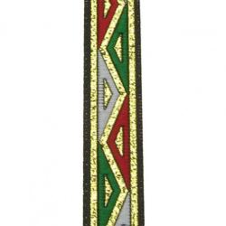 Ширит 15 мм червено зелено и бяло - златно ламе