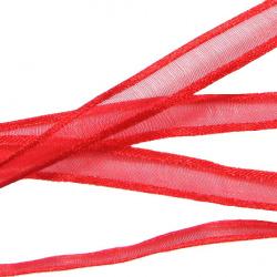 Κορδέλα οργάντζα και σατέν 10 mm κόκκινο -10 μέτρα