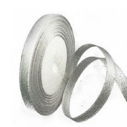 Лента oрганза 10 мм сребро ~22 метра