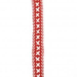 Ширит 20 мм коприна червен с бяло -1 метър