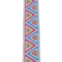 Ширит 17 мм триъгълник жълт син розов -10 метра